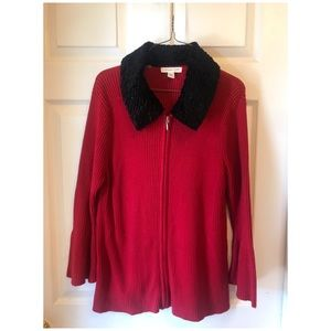 Red Coldwater Creek Sweater w/removable fur collar